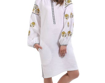 Embroidered Dress Vyshyvanka dress Ukrainian embroidery ethnic dress, embroidered Ukraine dress.
