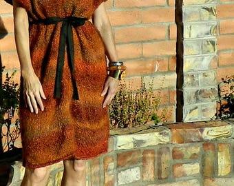 Sweater Dress Women-Sweater Dress-Oversized Sweater Dress-Winter Dress-Oversized Sweater-Mod Chic Style-Hand Knitted in USA-Rust