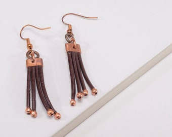 Leather and Copper Fringe Earrings