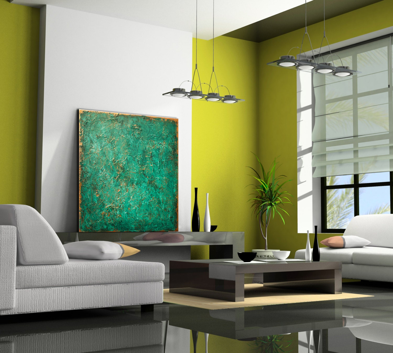Abstract Painting XLARGE Canvas Art Original Custom Painting Green ...