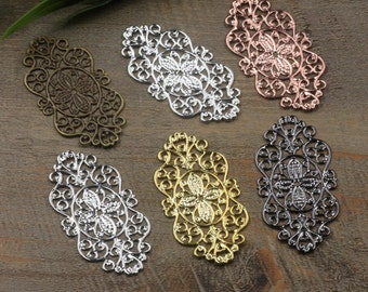 50 Brass Filigree Floral Base Setting 28x56mm Raw Brass/ Antique Bronze/ Silver/ Gold/ Rose Gold/ White Gold/ Gun-Metal Plated