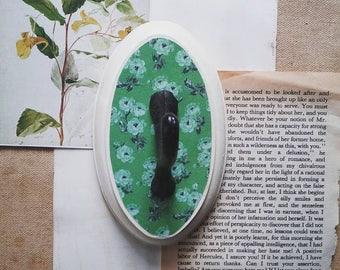 Green Floral Wall Hook, Rustic Cottage Chic Wall Hanger, Key Hook, Jewelry Organizer, Boho Farmhouse Decor