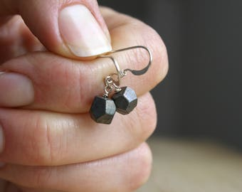 Faceted Pyrite Earrings . Crystals for Wealth Gems Jewelry . Fools Gold Nugget Earrings . Small Pyrite Earrings