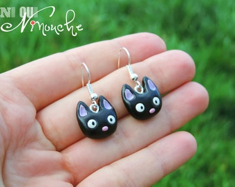 Jiji earrings small black cat (fimo) geek manga Miyazaki Ghibli Kiki the little witch totoro girl Christmas gift idea