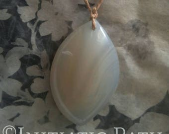 """Simplicity"" pendant made of natural white banded agate and quartz"