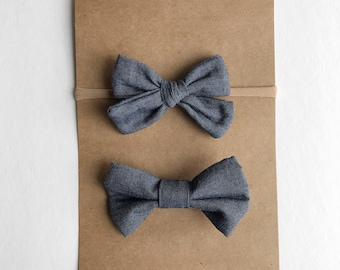 Chambray bow tie and hair clip/headband sibling set
