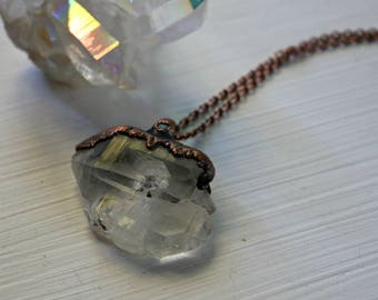 Faden Quartz necklace/ Quartz necklace/ Electroformed jewelry/ Copper jewelry/ Raw Crystal Jewelry
