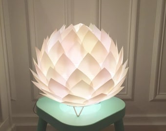 Lamp table/night light paper layer clear/ivory/pink Lotus Flower