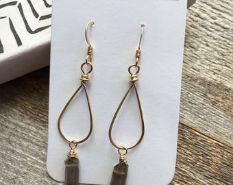 Small Gold Teardrop Hoops with Smoky Quartz Crystal