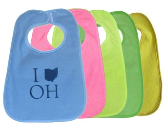 TerryCloth Bib with 'I (Ohio) OH' Design (Blue, Pink, Lime Green, Green, Mint Green)