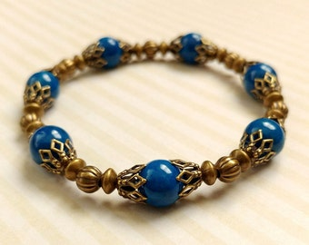Bright Blue Lapis Howlite Gemstone Bracelet With Antiqued Gold-Plated Brass Accents