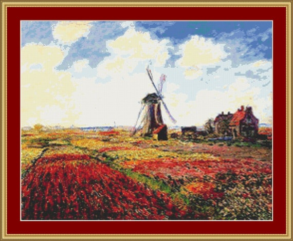 A Field Of Tulips In Holland Cross StitchPattern /Digital PDF Files /Instant downloadable