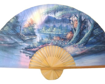 Unique Hand Painted Big Fan for Wall in Cotton by Thai Artist, Diameter: 176 cm or 69 inch.