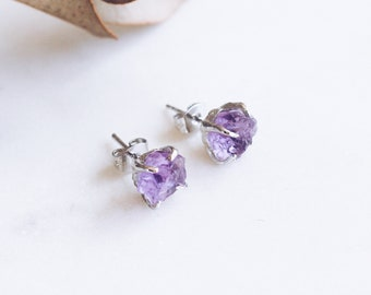 Elegant Raw Amethyst Gemstone Stud Earrings in Silver. Handcrafted Dainty Luxury Gift Perfect for All Occasions.
