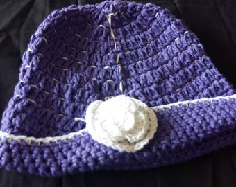 Purple Crochet Hat with white flower
