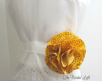 Yellow Dress Sash, Yellow Black and Red Flower Belt Sash, Yellow Wedding, 2 Sizes Available for Girls and Adults