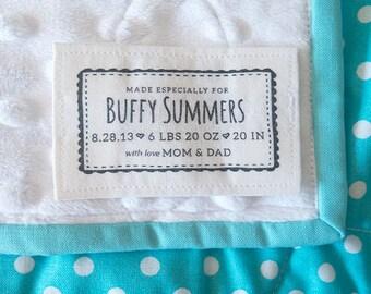 Custom fabric Label, Personalized Cotton Label, blanket label, fabric message, blanket patch, cotton fabric label, Printed fabric label, K21