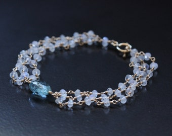 Blue Aquamarine Rainbow Moonstone14k Gold Filled Bracelet 3 Three Triple Strands Wire Wrapped March June Birthstone Toggle Clasp