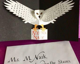 Custom Hedwig Owl Post inspired pop-up card