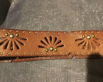Linnea Pelle cognac studded belt