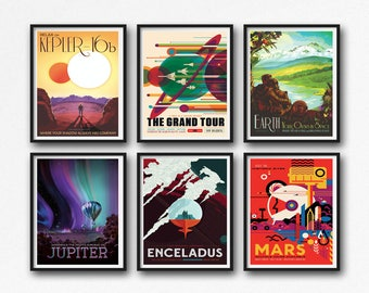 Set of 6 Space Posters NASA Posters Outer Space Poster Mars Poster Earth Poster Jupiter Poster Kepler Poster Solar Poster Space Art Set