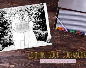 Coloring book Guestbook, Guest book idea, Wedding Guestbook, Sign Our Guestbook, Guestbook, Wedding, Coloring book, Coloring,  File #GB13