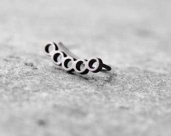 ear crawler Geometric ear climber, Sterling silver ear pin, modern ear cuff, minalistic earrings, contemporary earring black platinum plated