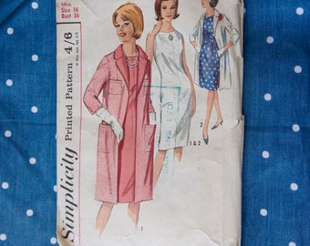"""Vintage, Simplicity, One Piece Dress, Coat, Pattern, Women's, Clothing, Dress, Coat, 1960s, Retro, Fashion, Sewing, Costume, Bust 36"""""""