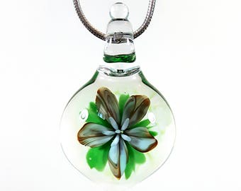 Small Flameworked Glass Flower Pendant, Blue Earthy Flower Pendant, Glass Flower Necklace, Unique Keepsake Gift