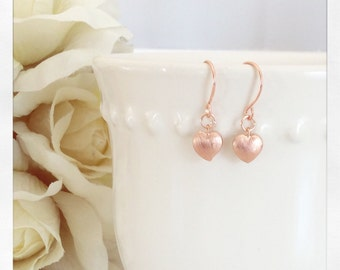 Rose Gold Earrings, Heart Earrings Tiny heart earrings Rose Gold Jewelry best friend gifts, flower girl gifts, gifts for her mothers day