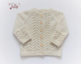 Organic merino wool cardigan lace sweater lace cardigan baby cardigan baby sweater wool sweater baptism christenig outfit MADE TO ORDER