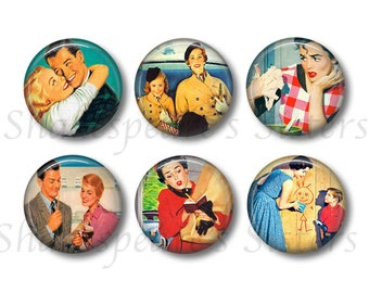 Retro Style 1950s Marital Bliss Magnets - Six 1.5 Inch Funny Refigerator Magnets - 50's Marriage Americana