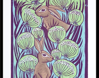 linocut, hare print, hare art, flowers, wild flowers, blue and green, blue sky, pair of hares, printmaking, last print, spring print