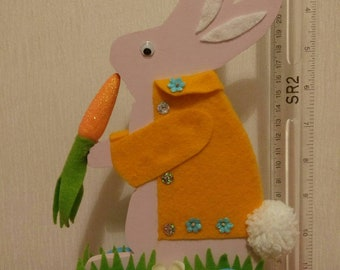 Rabbit from wood and fabric