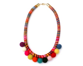 Pom Pom Necklace, Colorful Statement Rope Necklace For Women, Felted Necklace, Pom Pom Jewelry