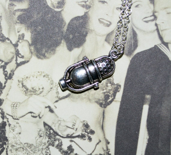 Microphone Necklace, Retro Microphone Charm, Fifties Style, Rockabilly Microphone, Silver Mic Necklace, Music Lover Necklace, Singer Gift