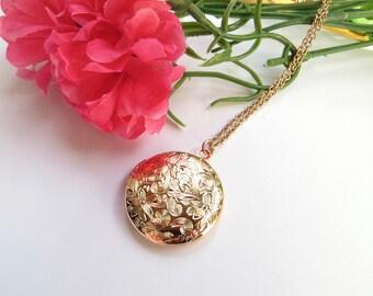 Rose Gold Locket With Floral Design, Everyday Necklace, Delicate Locket, Round Locket, Antique Locket, Designer Locket, Vintage Style Locket