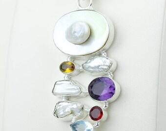 Fresh Water Pearl Amethyst Garnet Citrine 925 S0LID Sterling Silver Pendant + 4MM Snake Chain p4194