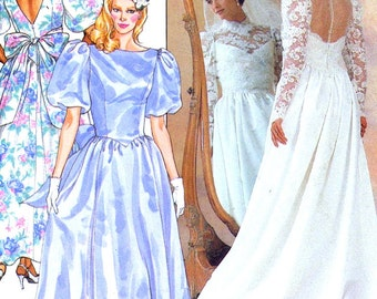 80s Romantic style Wedding gown Bridesmaid dress sewing pattern Butterick 3616 UNCUT Sz 14