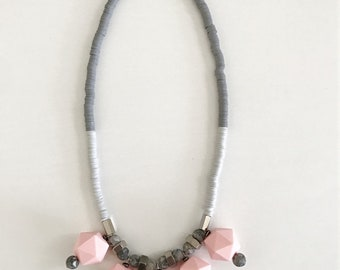 Chunky pink necklace, geometric beads necklace, grey polymer clay discs, pastel pink beaded necklace, big beads necklace, Nulika