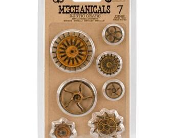 Prima Finnabair Mechanicals Rustic Gears Metal Embellishments 7pcs 963439