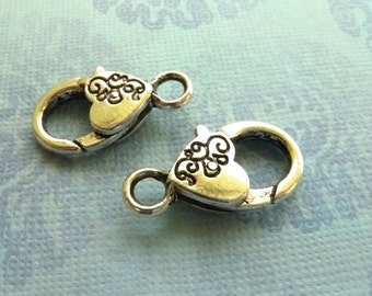 2 Large Silver Lobster Clasp Flower Heart design