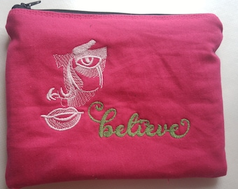 Embroidered Zipper Pouch-  Believe