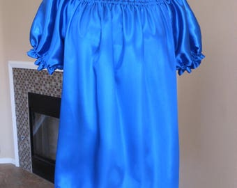 Blue Satin Wench Chemise Shirt Available In Other Satin Colors or Cotton Fabrics
