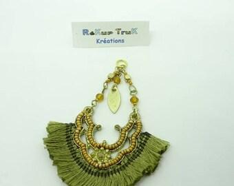 Pendant khaki fringe and Golden beads. Oriental style.