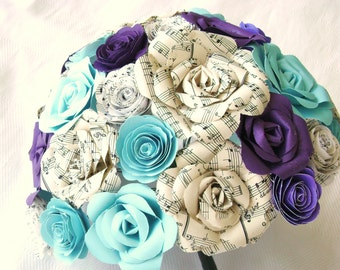 purple and turquoise hymnal sheet music bouquet for weddings, quinceaneras, toss, bridesmaids alternative
