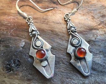 Vintage Carnelian Earrings...Sterling Silver Earrings...Handcrafted...Gypsy...Hippie...Gift...Vintage Shop