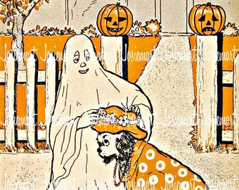 Halloween Image Digital - Halloween Ghost Trick or Treat - Vintage Digital Download - Ghost Puppy Image Deco -  Vintage Image Large JPG