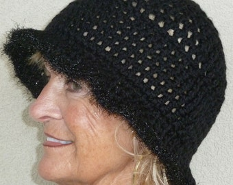 Black winter hat for women, unique crochet hat with a brim, great sun hat, original handcrafted crochet hat, creative hats, gift for her