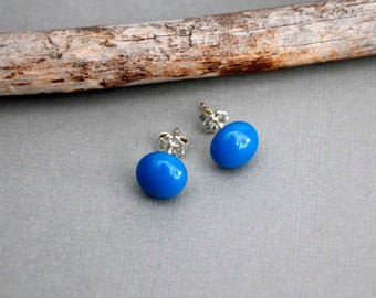 Blue Stud Earrings - Round Stud Earrings - Sterling Silver Earrings Studs - Everyday Earrings - Glass Stud Earrings - Blue Post Earrings